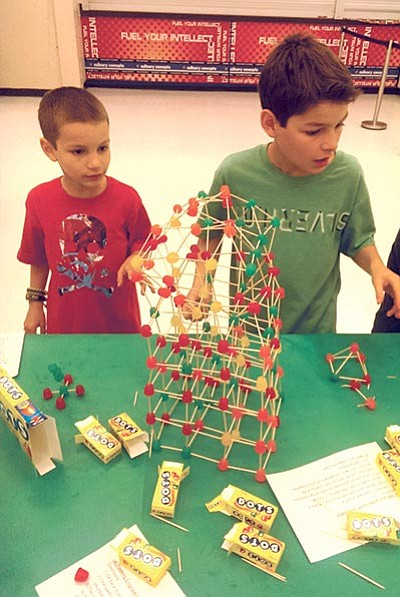 Russell Pierie, a second-grader at Lincoln, and his older brother Grant Pierie, a sixth-grader at Granite Mountain School, at Granite Mountain's first STEAM night on Sept. 30. The school's next STEAM night is Thursday, Nov. 19. (Courtesy photo)