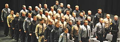 Les Stukenberg/The Daily Courier<br>Members of Northern Arizona Regional Training Academy (NARTA) Class 39 graduate in a ceremony Thursday at the Yavapai College Performance Hall.