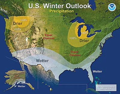 This map shows predicted snow and rainfall over the 2015-16 winter season. Nearly all of Arizona is expected to see more precipitation due to the El Niño effect.<br /><br /><!-- 1upcrlf2 -->Courtesy NOAA