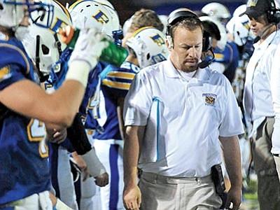 Matt Hinshaw/The Daily Courier<br> Prescott football coach Cody Collett on the sideline.