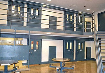 This photo shows the inside of the Camp Verde jail, including the second-floor inmate housing and the first-floor common area. (PNI, file photo)