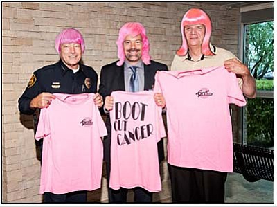 Courtesy photo<br>J. Monahan, J. Amos and D. Light, approved for use by all three gentlemen, the Prescott Police Chief, Fire Chief and Hospital CEO donning pink hair to support the cause.