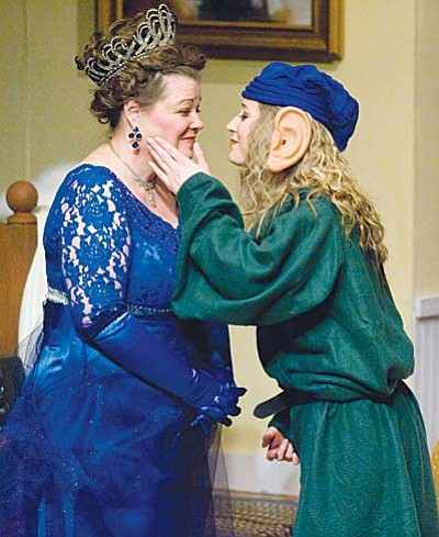 """Les Stukenberg/The Daily Courier<br>Melanie Snyder, left, playing Sonia, and Annabelle Veatch as Nina rehearse a scene Monday for the Prescott Center for the Arts' production of """"Vanya & Sonia & Masha & Spike,"""" which was nominated for six Tony Awards and was winner for the Best Play of 2013. The show opened Thursday, Jan. 21, and performances continue on PCA's Mainstage through Jan. 31."""