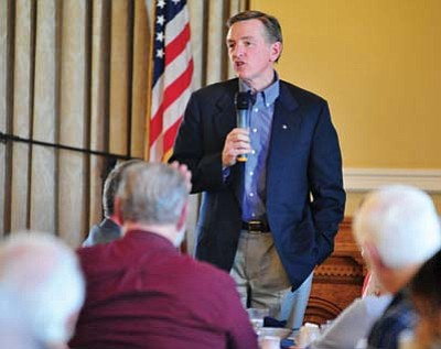 Congressman Paul Gosar, R-Prescott, speaks about the upcoming budget at the Yavapai Republican Men's Forum in Prescott Monday afternoon. (Les Stukenberg/The Daily Courier)