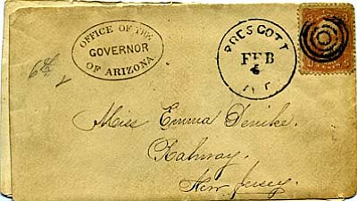 The covers (envelopes) that carried the McCormick-Denike correspondence are some of the earliest and only known from Prescott's first years. This one, marked number six, shows how Mrs. McCormick tracked her correspondence in the face of erratic mail delivery<br /><br /><!-- 1upcrlf2 -->