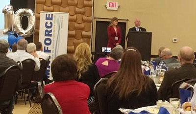 MATForce co-chairs Sheila Polk and Doug Bartosh speaks at MATForce's 10th anniversary celebration Wednesday, Feb. 10, at Prescott Resort and Conference Center. (Photos by Arlene Hittle/The Daily Courier)