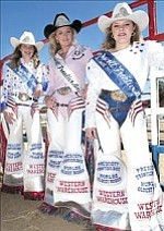 Jordan Anderson, left, Junior Court, Crystal Killian, Prescott Frontier Days Rodeo queen, and Malinda Pascoe, Senior Court, pose recently at the Prescott Rodeo Grounds.  Courier/Nathaniel Kastela