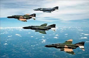 Courtesy photo/U.S. Air Force A formation of F-4 Phantom II fighter aircraft fly in formation during a heritage flight demonstration here. The heritage flight program was established in 1997 to commemorate the 50th anniversary of the U.S. Air Force.