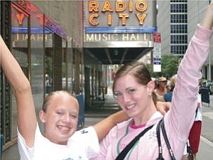 Courtesy photo Alex Bates, left, and Aubrey Eriksen, pose in front of the Radio City Music Hall in New York.