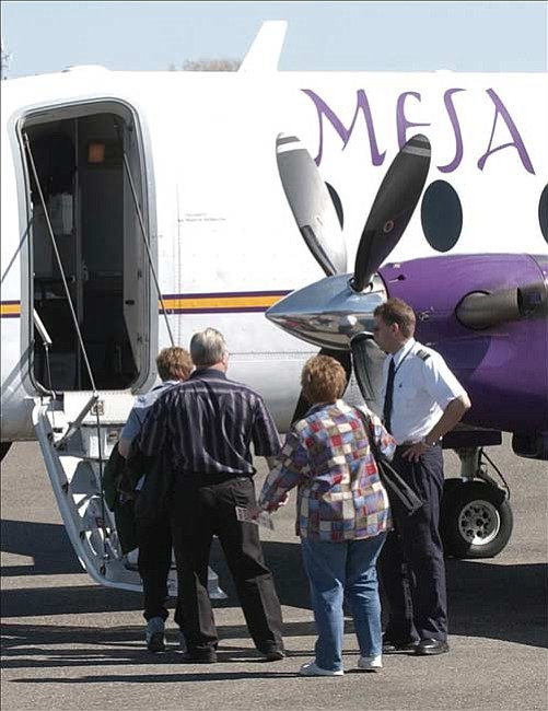 The Daily Courier file/Jo. L. Keener People will again be able to board a Mesa Airlines plane at Prescott's Love Field according to the Thursday announcement that the carrier won the contract for service to the Prescott area. The carrier had lost their contract in 2005 to Great Lakes Airlines.