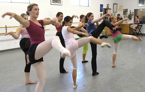 The Daily Courier/Jo. L. Keener <br>Aubrey Eriksen, front left, leads the dance group RhythMotion through a practice Friday in Prescott. The dancers from Prescott will take part in National competition in Las Vegas next month.