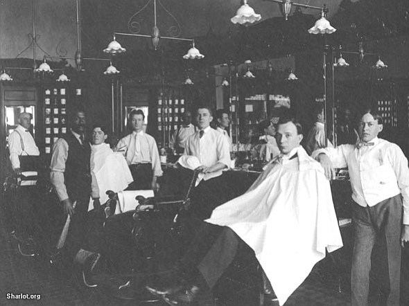The Palace barbershop interior, circa 1890. All historic Whiskey Row photos are courtesy of the Sharlot Hall Museum in Prescott.  Prints are available for purchase at the museum, which is located along Gurley Street just west of the courthouse plaza. For more information, call 445-3122 or visit the museum online at www.sharlot.org.