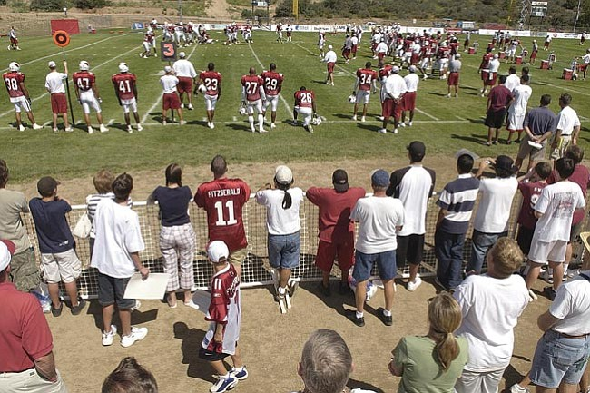 The Daily Courier/<br>Les Stukenberg<br>Fans came out in support of the Arizona Cardinals during NFL training camp at Pioneer Park in this August 2005 file photo. The Cardinals' camp agreement with Flagstaff expires in 2008 and Prescott city officials are interested in making a bid to bring the team back.