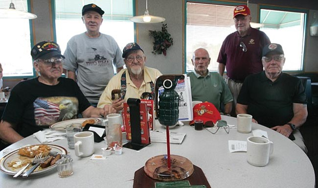 Marine Corps and a lone Army veteran Ron Nimocks, Sheldon Lasky, John Ferguson, Bob Russell, Marion Branch and Clifton Stallings gather each Wednesday morning at the Denny's in Prescott Valley.