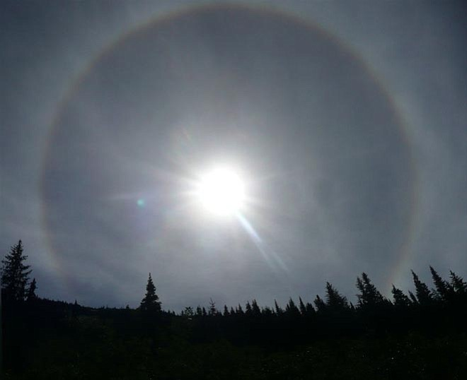Reader photo/Carol Baeur --- This is a photo of an actual sundog, which Carol Baeur shot in Alaska.