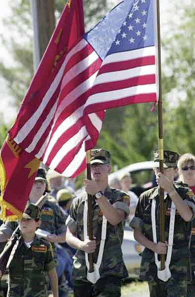 Young Marines form the color guard at the beginning of the Chino Valley Territorial Days parade in this file photo from  Sept. 4, 2004.   The Daily Courier/ Jo. L. Keener