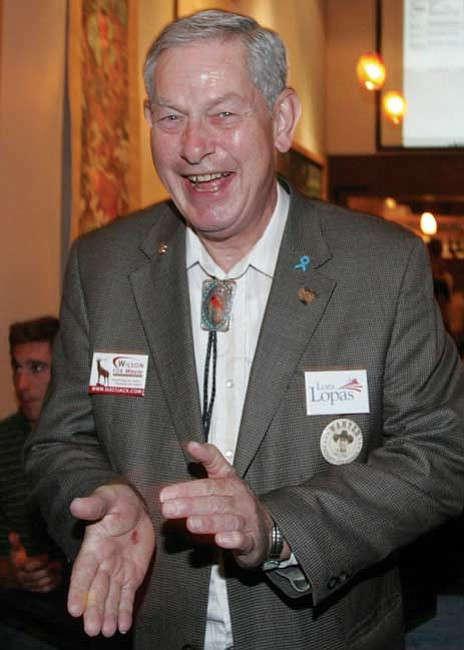 Jack Wilson reacts to a joke before reading the results in the City of Prescott mayoral election on Tuesday night.