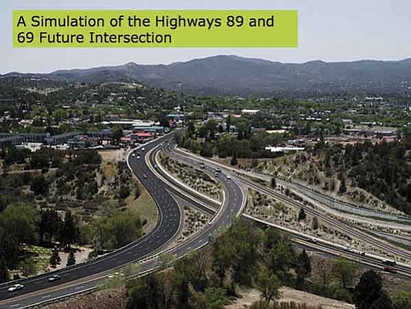 Courtesy rendering/ADOT A simulation of the highways 89 and 69 future intersection.