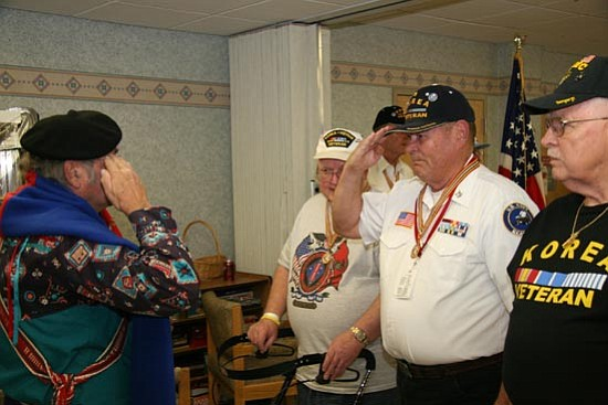 Courtesy/Bob Stump VA Medical Center  American Indian members of the Military Order of the Purple Heart distribute the Warrior Medal of Valor to patients at the Bob Stump VA Medical Center in Prescott on Nov. 9 in an honor ceremony.