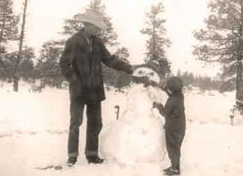 Courtesy Mona and her father Walt build a snowman at the Yolo Ranch in the 1940s.