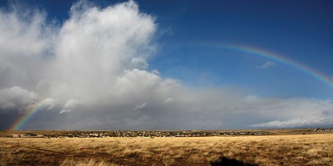 The Daily Courier/Les Stukenberg A rainbow forms over the Granville subdivision in Prescott Valley during last weekend's storms that brought some much-needed moisture to the tri-city area. The National Weather Service has forecasted another strong storm to start hitting the region Thursday night.