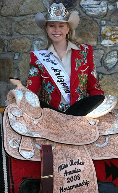 The Daily Courier/Les Stukenberg Prescott resident and Miss Rodeo Arizona Katie Rose Hill won the Horsemanship Award at the Miss Rodeo America pageant at the National Finals Rodeo in Las Vegas last week.