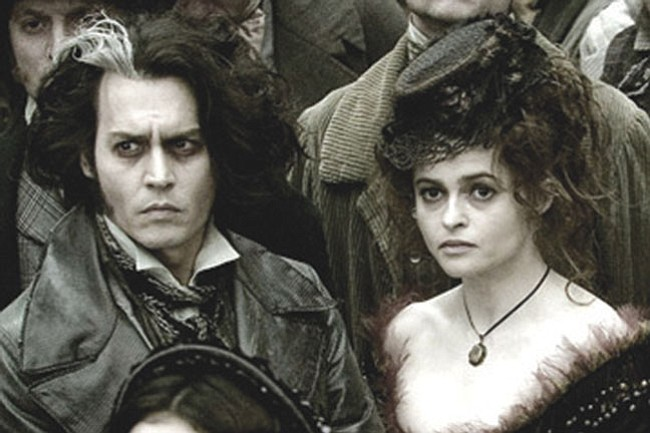 "Johnny Depp and Helena  Bonham Carter play a dark duo in Tim Burton's adaptation of ""Sweeney Todd.""  Courtesy"