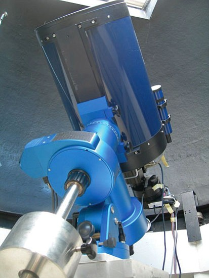 Courtesy/ERAU<br> Embry-Riddle Aeronautical University's observatory features a 12-inch Schmidt-Cassegrain telescope on a German astronomical mount. A photometer attached to the eyepiece allows study of variable star systems. Researchers can also attach a spectrometer and CCD camera to the telescope. ERAU will offer a public open house at the observatory April 15.