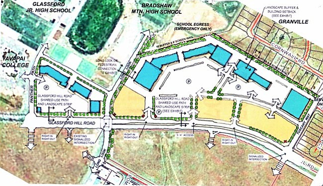 Courtesy<br> These illustrations show the areas the Prescott Valley Planning and Zoning Commission approved for rezoning Monday night.