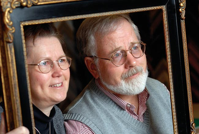 The Daily Courier/Jo. L. Keener<br> A frame from their new purchase of the Framers Market & Gallery frames Vickie and Jim Sheridan on Tuesday.