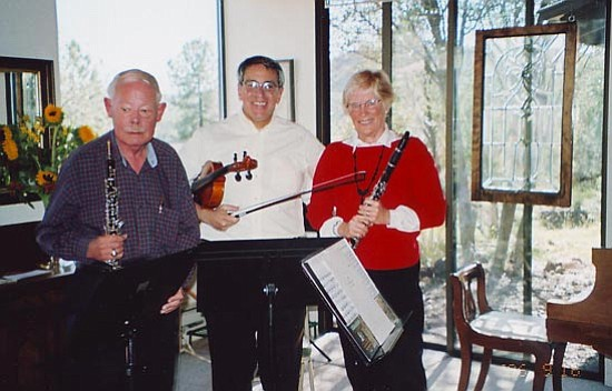 Courtesy<br> Prescott Chamber Players include (left to right) Michael Vogel (oboe), George Friedman (violin) and Suzanne Fisher (clarinet).
