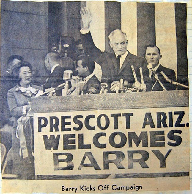 Courtesy/Sharlot Hall Museum<br> Barry Goldwater announces his bid for the U.S. presidency while standing on the Yavapai County courthouse steps on Sept. 3, 1964.