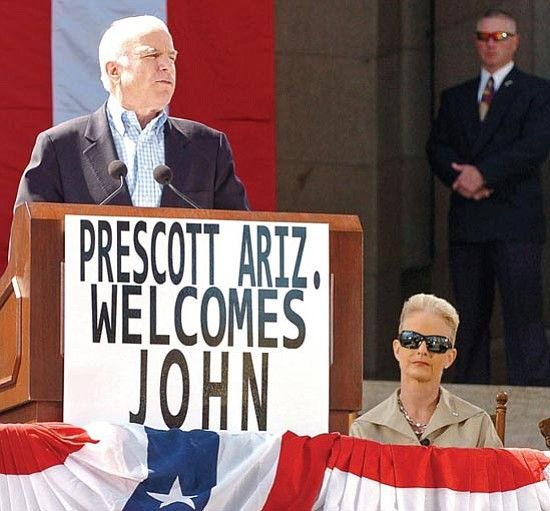 The Daily Courier/Matt Hinshaw<p> Presidential candidate Sen. John McCain, R-Ariz., gives a speech on the steps of the Yavapai County Courthouse Saturday.