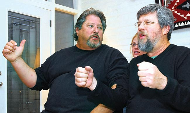 """The Daily Courier/Matt Hinshaw <br> Instructor Jonathan """"JP"""" Perpich performs an improvisation with student and actor Lance Sandleben in Prescott during a community acting class."""