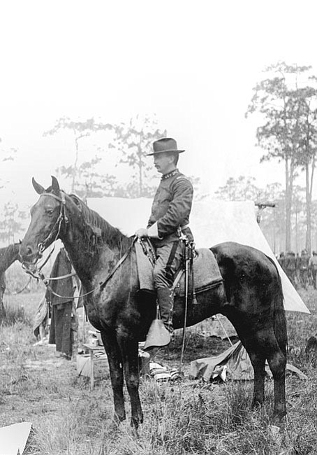 Courtesy/Sharlot Hall Museum<br> Capt. Buckey O'Neill rides his horse at San Antonio in 1898 while training for the Spanish-American War.