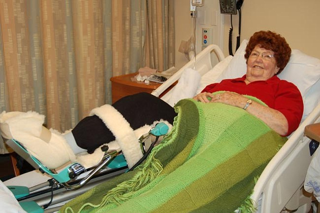 The Daily Courier/T.M. Shultz <br> Pearl Tenney Romney undergoes in-bed therapy treatment for a total knee replacement at Mountain Valley Regional Rehabilitation Hospital in Prescott Valley.