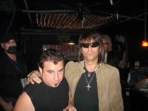 Courtesy Joe Lamia (left) poses with Angus Young, Richie Sambora, KK Dowling and Randy Rhodes impersonator Sal Cartagine.
