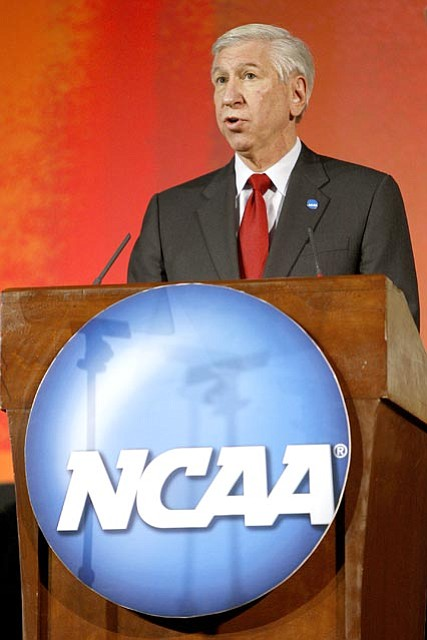 The Associated Press/John Russell, file<br> In this Jan. 12 file photo, NCAA president Myles Brand delivers the state of the association address during the opening business session of the 2008 NCAA Convention in Nashville, Tenn. The NCAA Academic Progress Report was released Tuesday and nearly 150 teams face potential scholarship losses and another 26 are on the brink of a postseason ban because of poor academics.