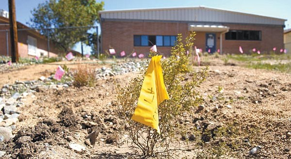 The Daily Courier/Jo L. Keener<p> Students, teachers, parents and volunteers recently planted low-water native plants to create an outdoor classroom at Miller Valley Elementary School.