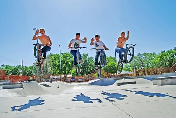 The Daily Courier/Bruce Colbert<p> BMX riders (from left) Ben Friis-Pettitt, Rodney Rodway, Johnny Stevens and Jon Erickson spend free time trick riding at the Mike Fann Community Skate Park in Prescott.