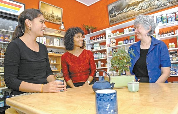 Jo. L. Keener/The Daily Courier<p> Rebecca Robinson, Margaret Mendoza and Mary Conkling  enjoy herbal teas Friday at One Root Tea & Herbothecary  in Prescott.