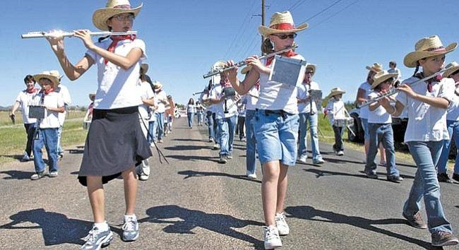 File/The Daily Courier <br> The Franklin Phonetic School marching band plays in the 21st annual First Territorial Capital Days Parade in this photo from Sept. 1, 2007.