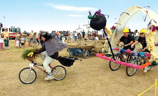The Scene Wacky sculptor machine racers pedal to the prize at a past Kinetic Sculpture Race.