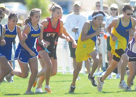Les Stukenberg/<br>The Daily Courier<br>Twenty cross country teams descended on Embry-Riddle Saturday for the 37th Annual Ray Wherley Invitational. The Prescott High School girls placed third overall.