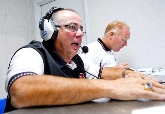 Courier file<br>Chuck Apap had been working as coach from the booth since returning from heart surgery this season, as was the case in this file photo from Sept. 5 at Bob Pavlich Field in Prescott Valley.