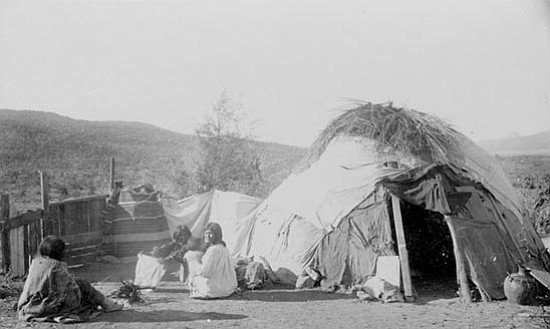 "Courtesy<p> A native hut from ""Lessons from Yavapai Indian History."""