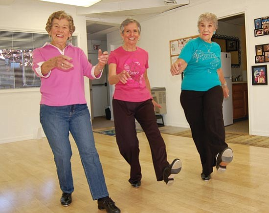 From left, tap dancers Sue Chambers, Erna Belle Rodgers and Barbara Jayne of Summer's Dance Works in Prescott are living proof that one is never too old to enjoy one's passion.  Doug Cook/The Daily Courier