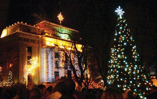 The Daily Courier<p> The Yavapai County Courthouse is ablaze with lights during the 51st annual lighting ceremony sponsored by the Prescott Chamber of Commerce. Children from local schools performed Christmas carols prior to the lighting.