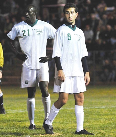 Les Stukenberg/<br>The Daily Courier<br>Sunday's championship marks the final game for superstar teammates Francis Khamis (left) and Justin Meram who have each scored 30 goals this season.