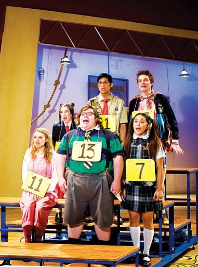Courtesy<p> The 25th Annual Putnam County Spelling Bee 2008/09 cast spells out words in u-n-i-s-o-n.